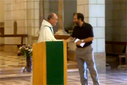 Rabbi Dr Alon Goshen-Gottstein shaking hands with Brother Renee, at the Latrun Trappist Monastry